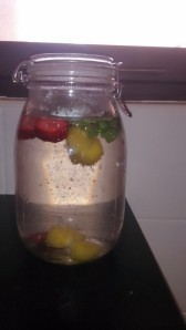 Infused Water with Mint, Strawberry and Mint.